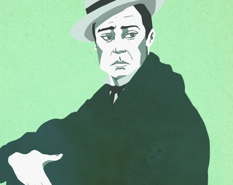 Buster Keaton Digital Portrait Print