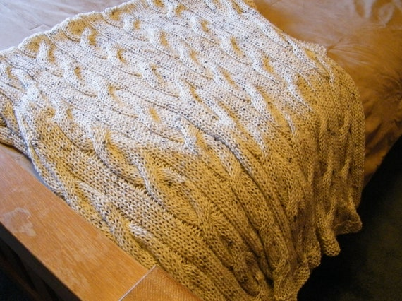 Knit Cable Blanket Throw, Hand Knit Lap Blanket, Cabled Blanket, Knit Throw, Cable Knit - FREE SHIPPING