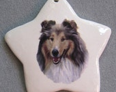 Rough Collie dog, star ornament, free personalizing 22k gold by Nicole