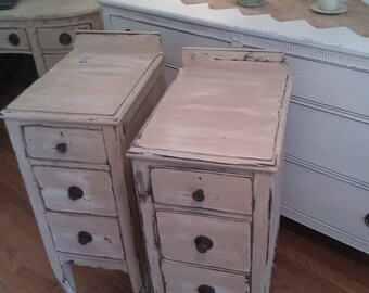 custom order nightstand pair shabby chic distressed cottage tan white antique prairie table bedside