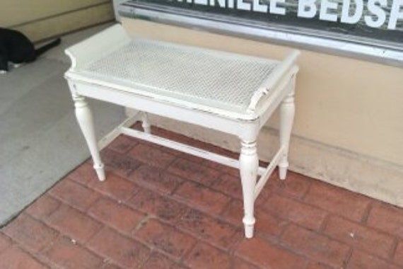 shabby chic vanity bench distressed cane french antique vintage ivory off white cottage prairie