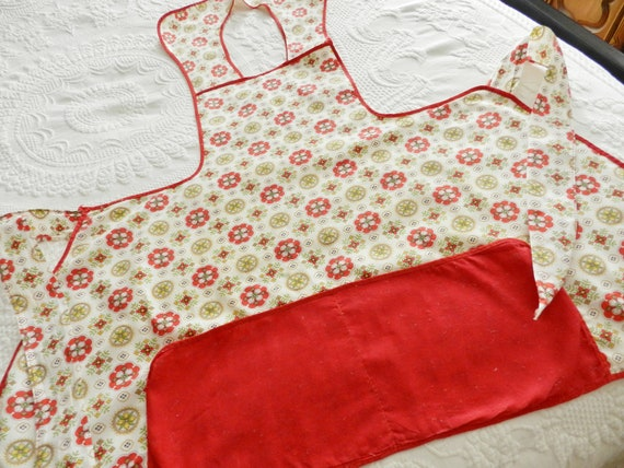 1950's Cotton Red Bib Apron