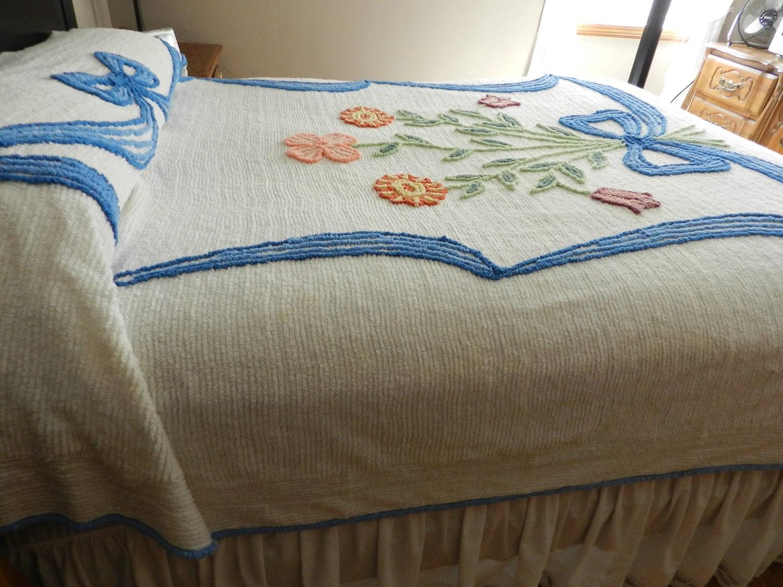 Vintage Lg Blue Bow Chenille Bedspread