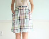Colored Pencil Vintage 80s Plaid Printed High Waist Button Down Mini Skirt LARGE L