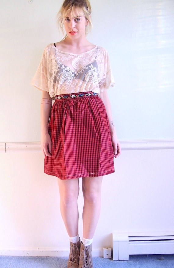 ON SALE  Kringle Checked Vintage 80s Gingham Printed High Waist Mini Holiday Skirt Small S
