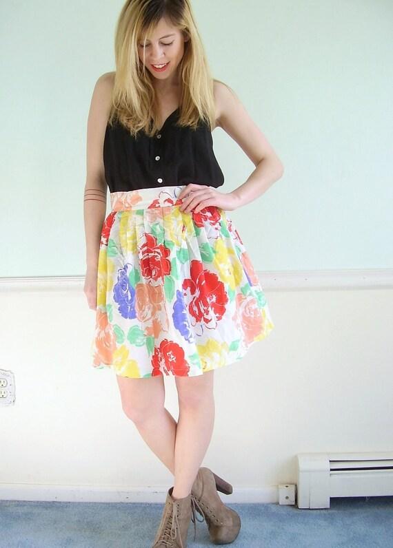 Provencial Floral Vintage 80s Semi Sheer High Waist FULL Mini Skirt M L