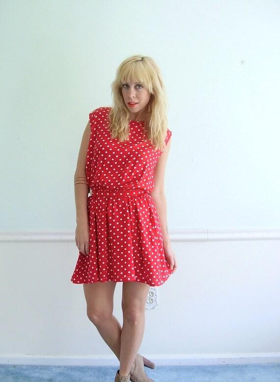 Red Polka Dot Mini Dress Vintage 80s Sleeveless Summer Dress LARGE L