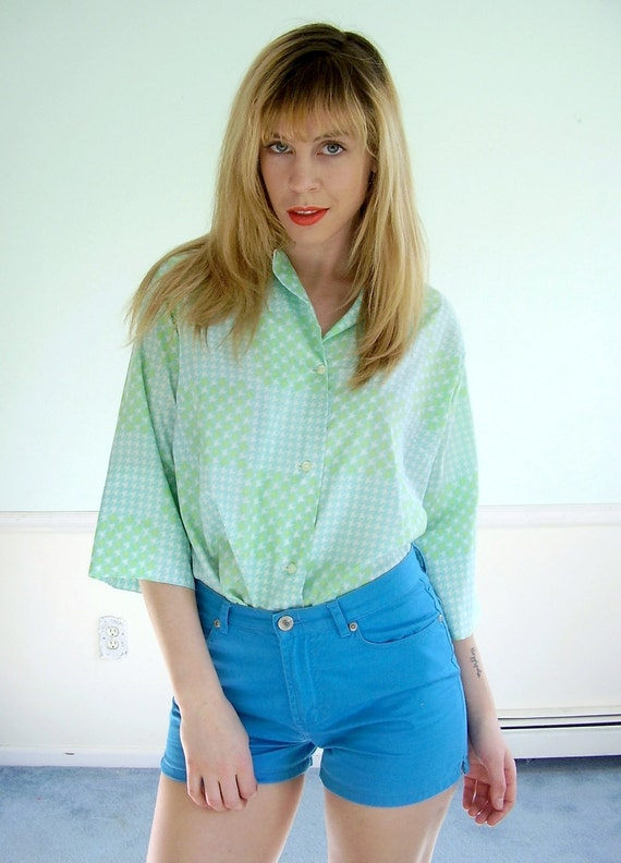 Neon Hound Vintage 60s 70s Half Sleeve Checkered Print Button Down Blouse Shirt LARGE L