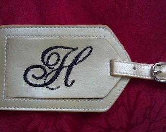 Leather Luggage Tag   --  Karen's Favorite Font