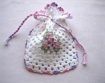 Hand crochet mini pouch, new