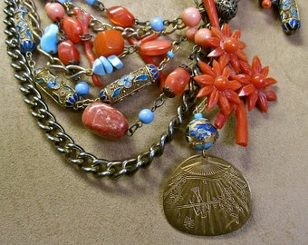 SHANGHAI BREEZES: Asian Necklace Vintage Assemblage Statement Flowers and Fan Cloisonne Red Coral Statement One of a Kind ooak Morticia Snow