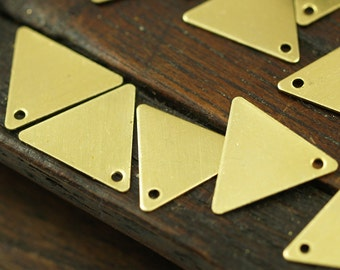 250 Pcs Raw Brass Triangle Charms 1 Holes (12 X 14 Mm)  A0013