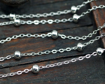 Silver Ball Chain, 10 Meters - 33 Feet (2x1.5mm) Silver Tone Brass Soldered Chain With Balls C54  ( Z022 )