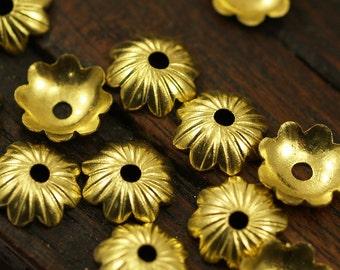 Brass Bead Cap, 50 Raw Brass Bead Caps (8mm) Brs 310 A0174