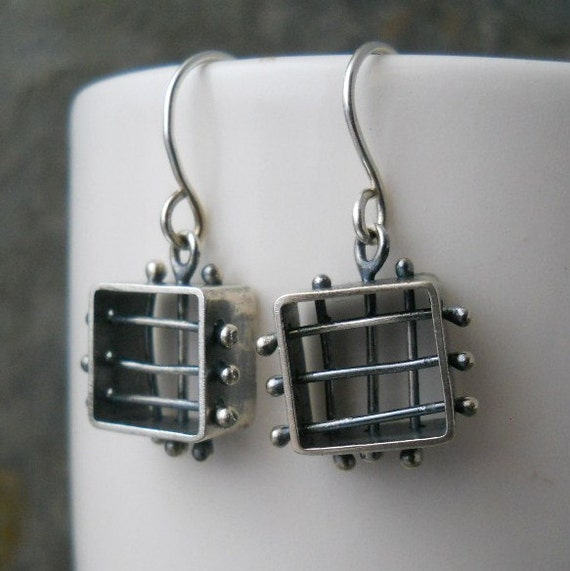 medieval cage earrings, sterling silver , box cage, .925, hand crafted, metalwork
