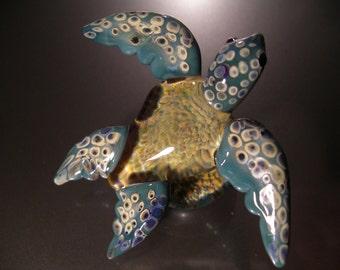 Swimming Turtle Sculpture glass art handmade borosilicate glass, unique gift, FREE SHIPPING