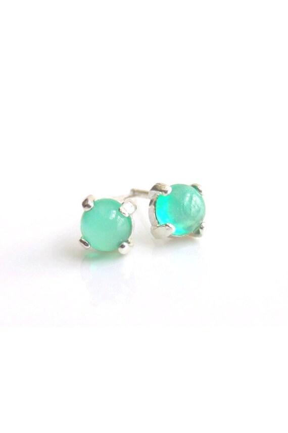 Green Onyx Stud Earrings Sterling Silver 4mm