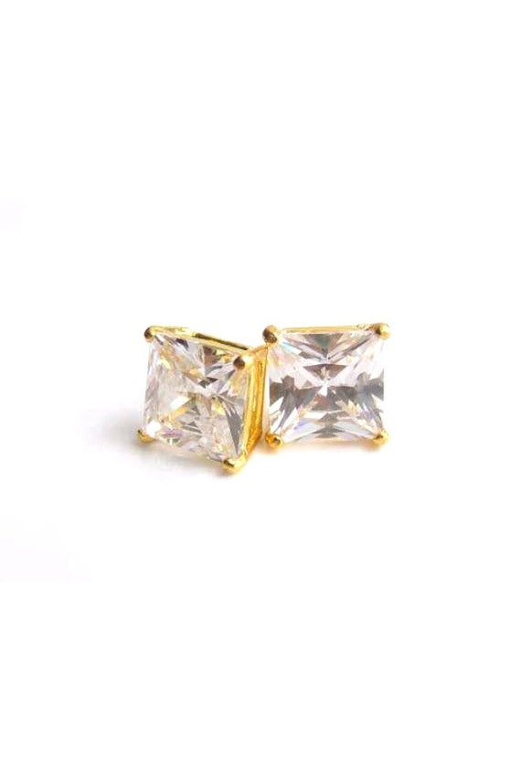 Cubic Zirconia Studs Gold Plated Cocktail Earrings 10mm