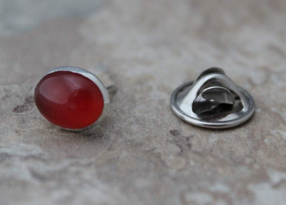 Men's Sterling and Carnelian Tie Tack, Fathers Day, Gift for Dad, Gift for Him