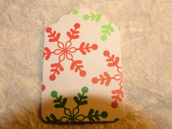 Tags, Gift, Set of 20, White  With Red and Green Snowflakes