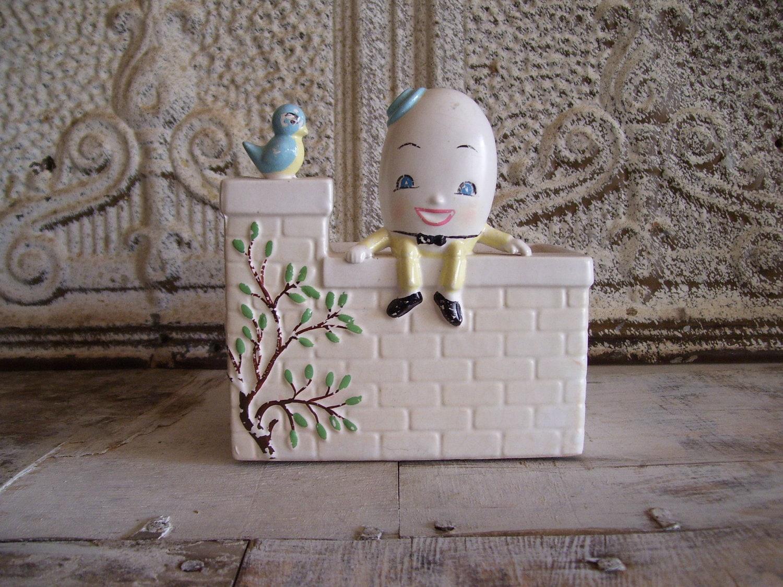 Vintage Humpty Dumpty Planter Nursery Rhyme Baby Organizer