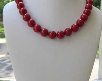 Red Chunky Necklace Statement, So Fine