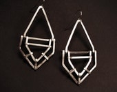 Geometric Drop Earrings - Sterling Silver - Handmade - Structure and Line Design - art deco revisted