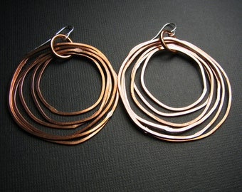 Copper Hoop earrings - Copper Earrings - Shiny finish - Layered rings - light weight - handmade in Austin, Tx