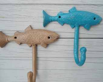 Mancave decor fisherman gift idea 2 Large Fish wall hooks fishing camping outdoorsman lake house river BeachHouseDreamsHome Outer Banks OBX