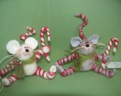 Candycane Mouse Felted Wool Ornament