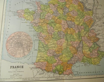 1887 Map France - Vintage Antique Map Great for Framing 100 Years Old