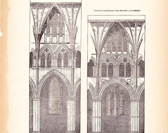 1892 Architecture Church Print - Vintage Antique Art Illustration History Geography Great for Framing 100 Years Old