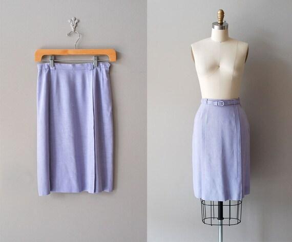 1950s skirt / 50s pencil skirt / Lilac Linen skirt