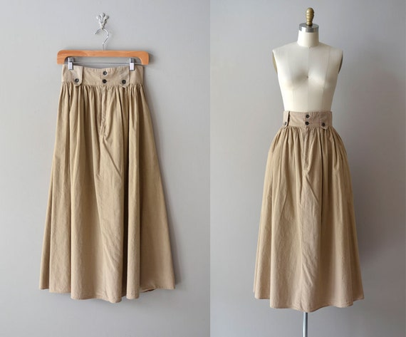 vintage khaki skirt / high waist skirt / khaki midi skirt