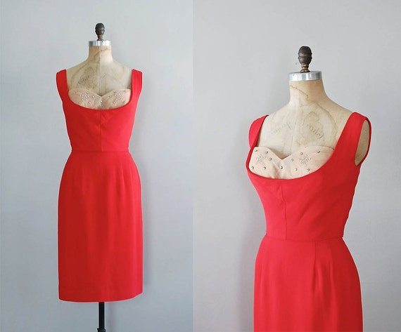 red 1950s dress / 50s cocktail dress / Love Buzz