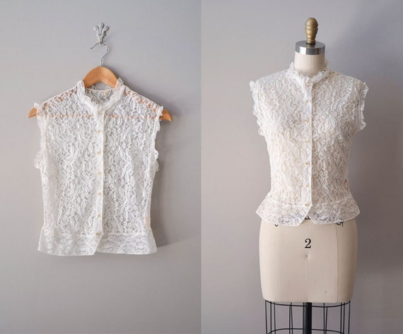 1950s  blouse / white lace blouse / sheer lace shell