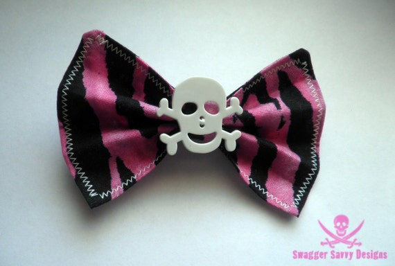 Large Pink Zebra Print Hair Bow with Skull and Glow in the Dark Stitching