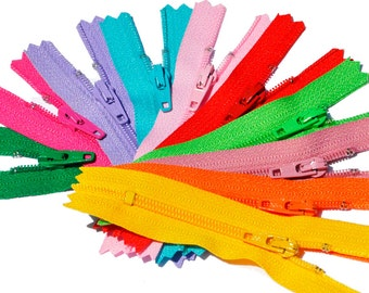 "3""YKK ZIPPER Sale ASSORTMENT 3 inch - 10 zippers ykk number 3 Skirt and Dress Assortment of Colors  - Closed End"