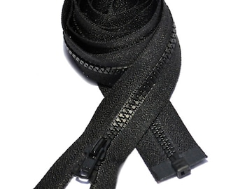 3 inch to 9 inch Vislon Zipper Black YKK number 3 Light Weight  Molded Plastic Separating By Each (Your Choice of Length)