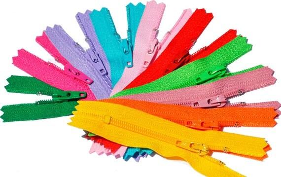"3""YKK ZIPPER Sale ASSORTMENT 3 inch - 10 zippers ykk number 3 Skirt and Dress Assortment of Colors  - Closed End"