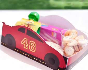 Red Race Car Printable LUNCH / SNACK TRAY - Editable Number - >> Instant Download | Paper and Cake