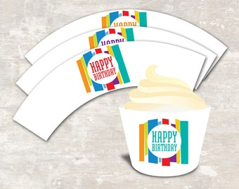 PRINT & SHIP Mod Stripe Birthday Party Cupcake Wraps (set of 12) >> personalized and shipped to you   Paper and Cake