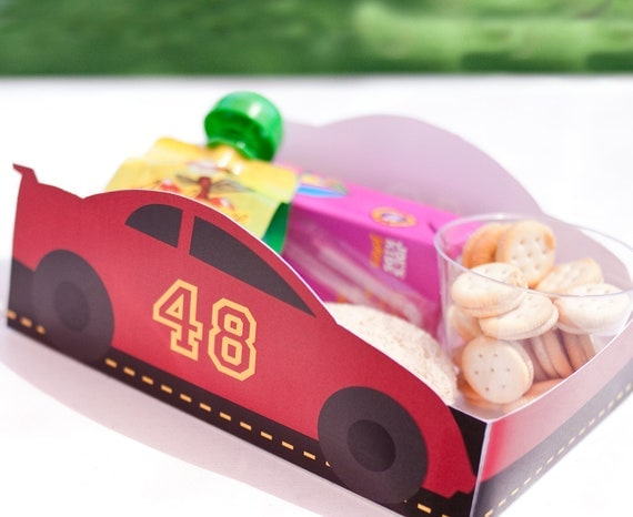 Red Race Car Printable LUNCH / SNACK TRAY - Editable Number - >> Instant Download <<