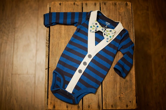 Preppy Baby Boy Cardigan Onesie and Bow Tie set -- Size 9 months