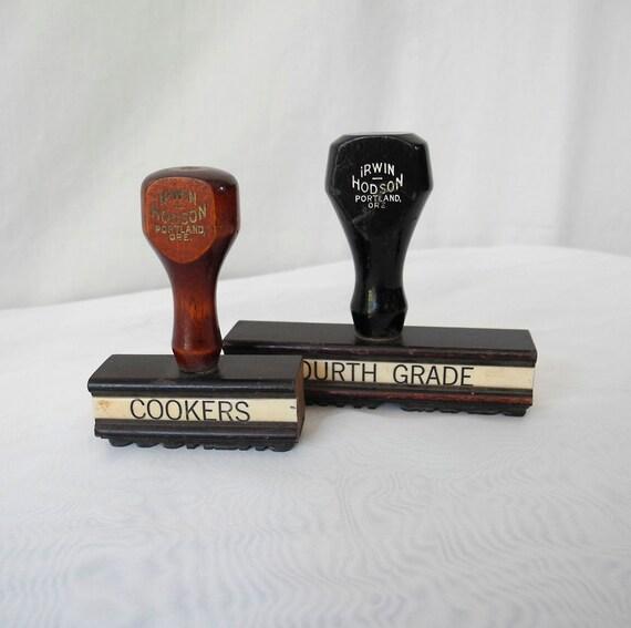 Vintage 1930s rubber wood stamps Portland Oregon Irwin Hodson Company