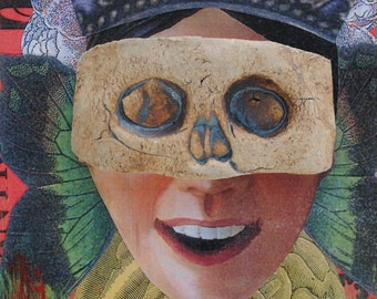 mixed media art painting assemblage wall art collage art ceramic mask