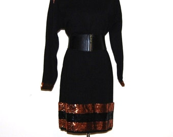 Vintage Dress Black with Copper Glitz