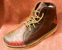 Handmade Leather deer tanned bullhide  hi top boots - hand crafted shoes chocolate brown custom made for women and men