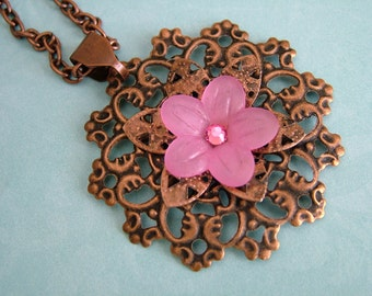 Pink Flower and Copper Filigree Necklace
