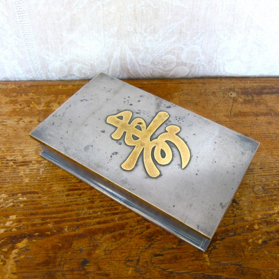 Pewter Box with Brass Chinese Character Asian